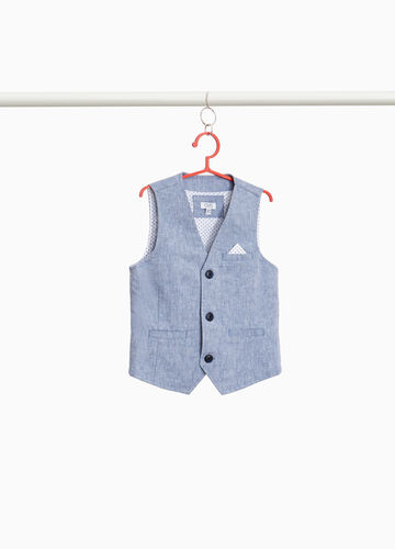 Mélange cotton and linen gilet