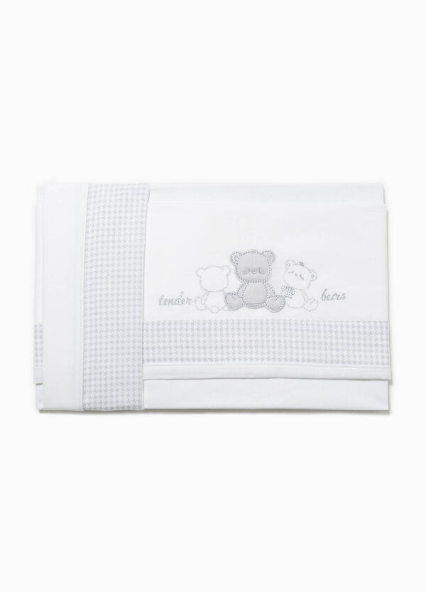 Crib sheet with hound's tooth edging | OVS