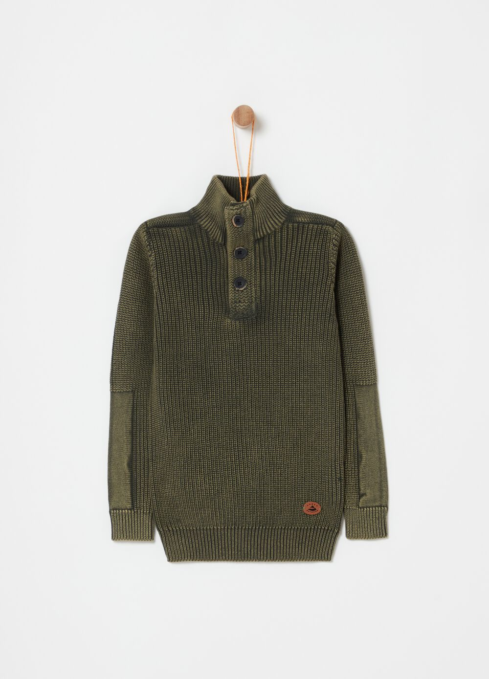Knitted pullover with high neck with buttons