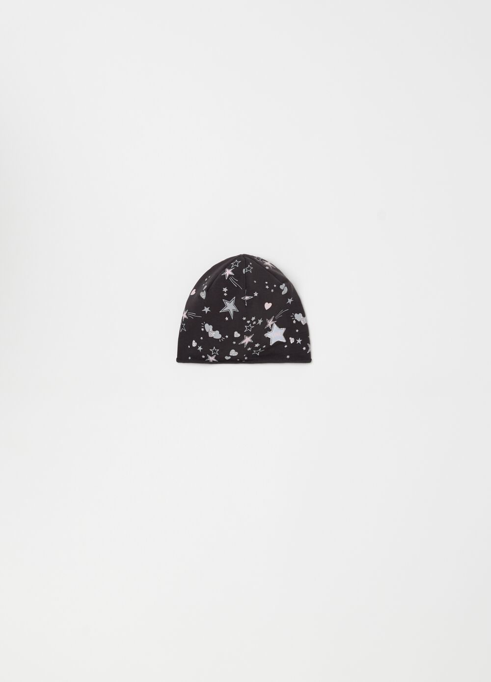Hat with glitter stars and hearts print