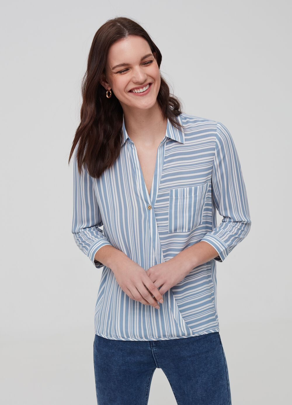 Patterned crêpe shirt
