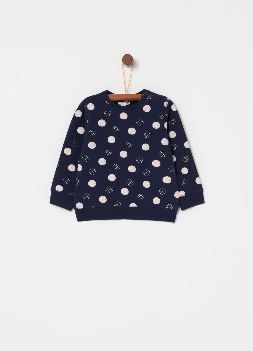 Polka dot sweatshirt in stretch cotton