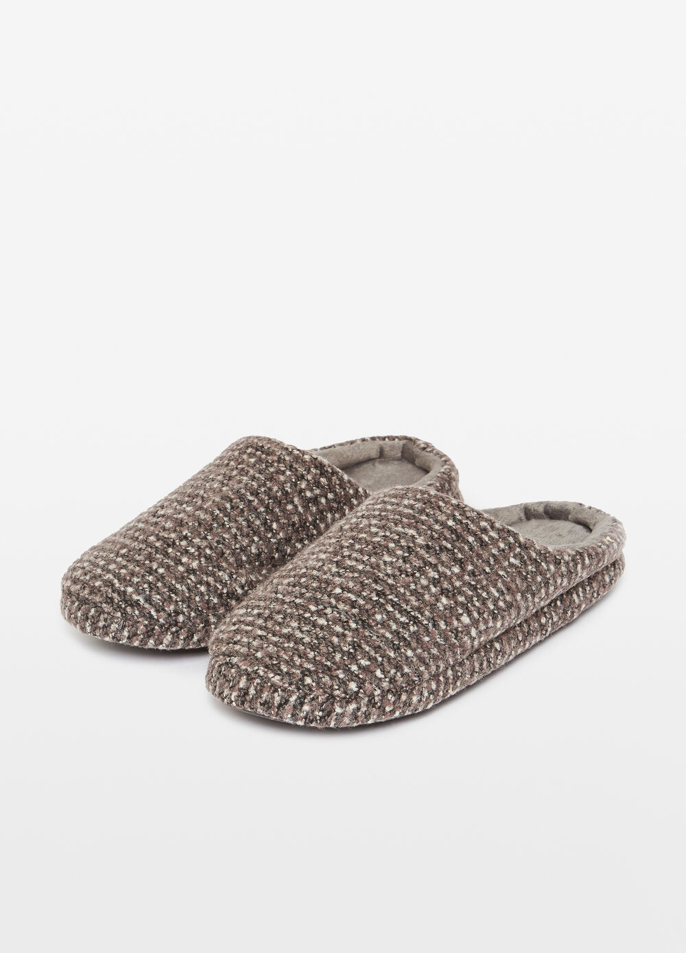 Mélange slippers with braided weave