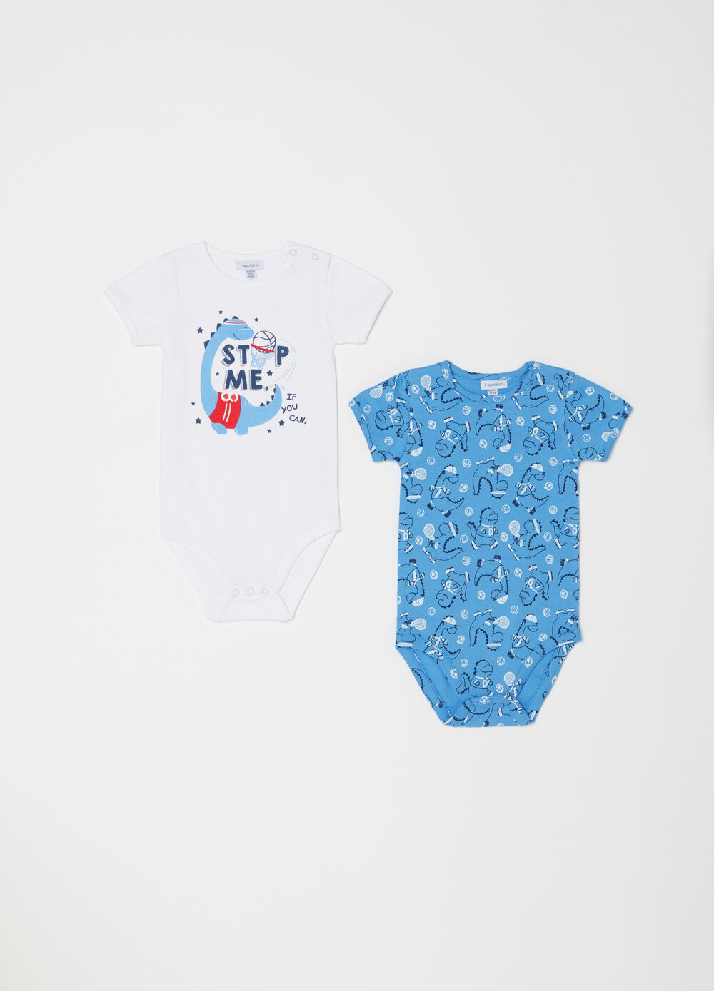 Two-pack bodysuits in 100% organic cotton with dinosaur
