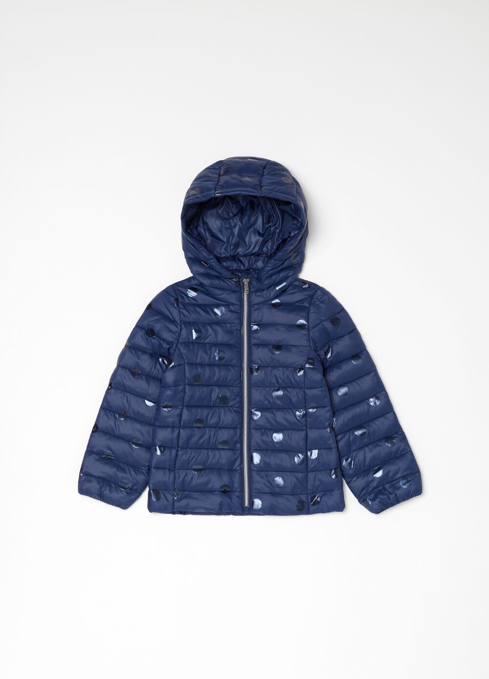 Lightweight padded jacket with macro polka dots