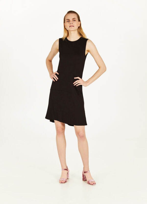 Longuette dress in stretch viscose