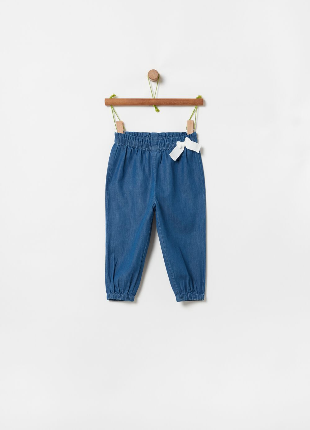 Denim-effect joggers in 100% organic cotton