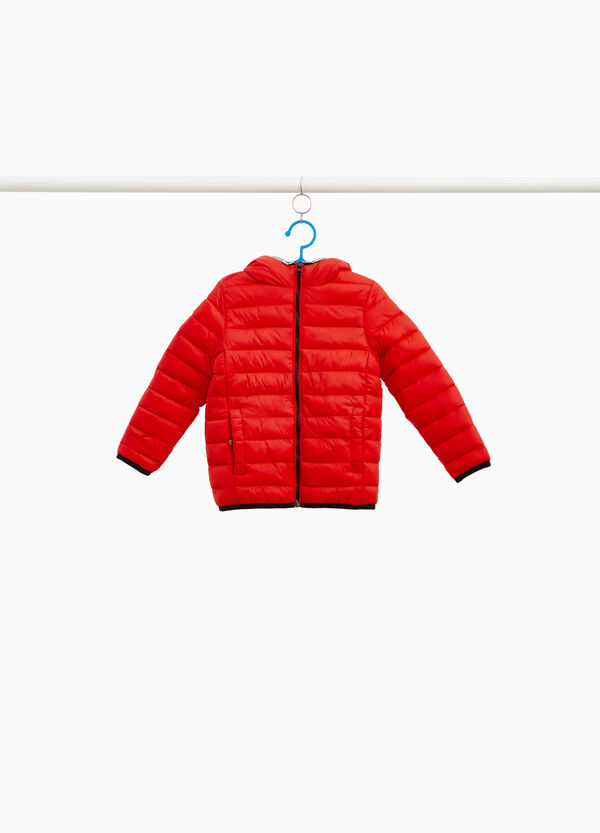 Solid colour down jacket with hood and zip