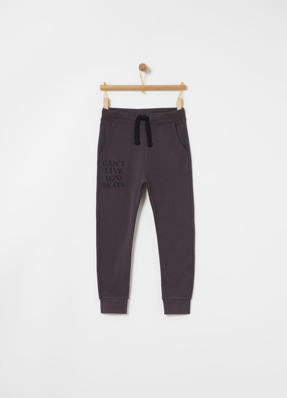 Slim-fit cotton trousers with low crotch