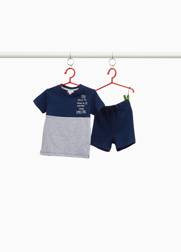 Cotton and viscose outfit with stripes and lettering