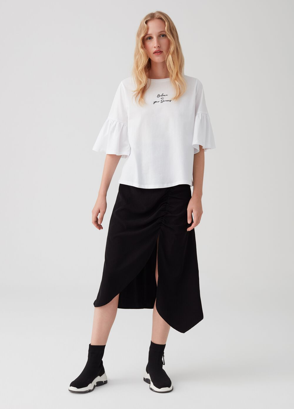 Asymmetric skirt with side gathering