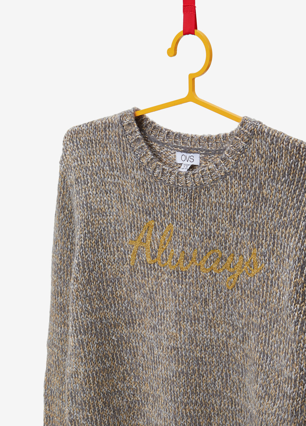 Knitted glitter pullover with printed lettering