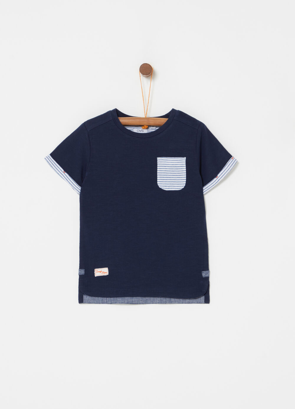 Biocotton T-shirt with pocket and stripes