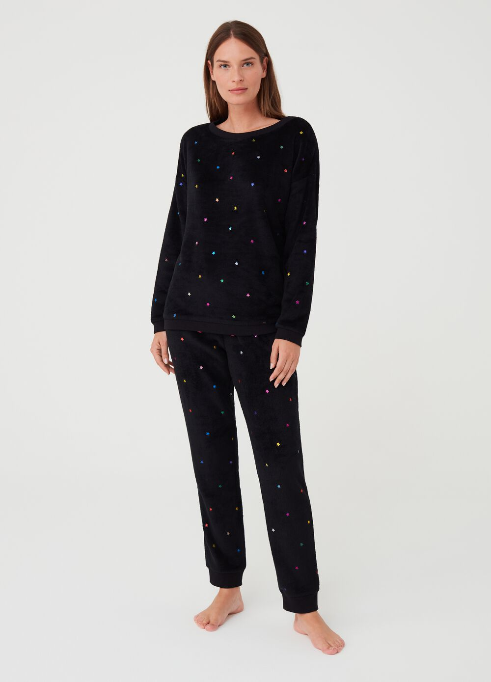 Pyjamas with foil print and star pattern