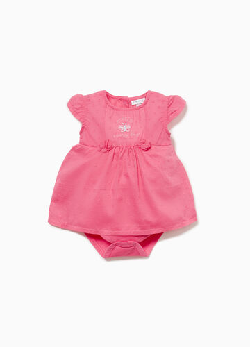 100% cotton polka dot romper suit with embroidery