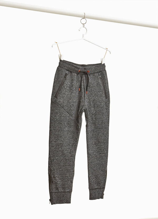 Mélange joggers with zip