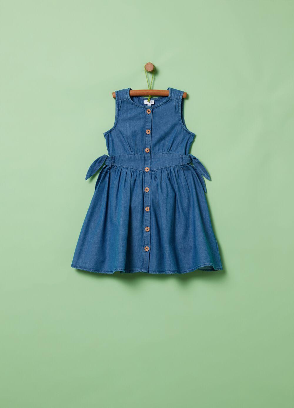 Denim-effect dress with bows