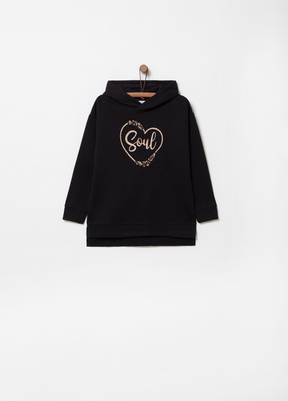 Hoodie with glitter print and diamantés