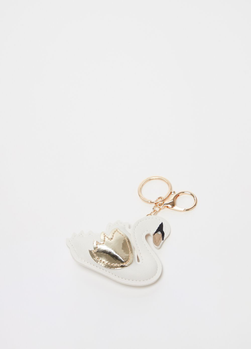 Two-tone swan key chain with diamantés