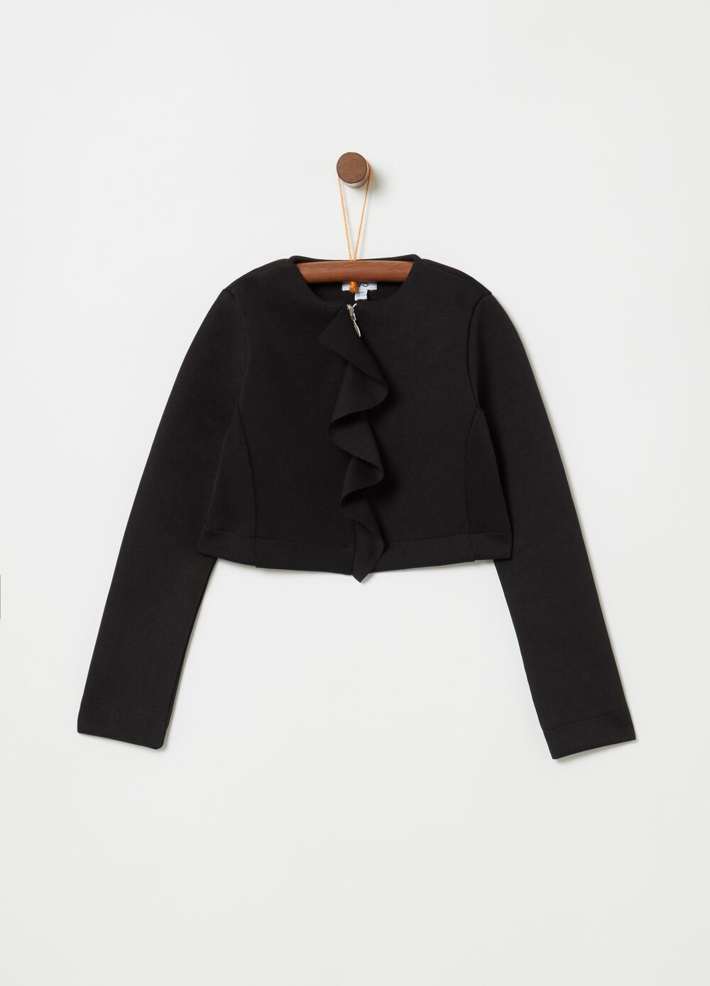 Short stretch jacket with frills