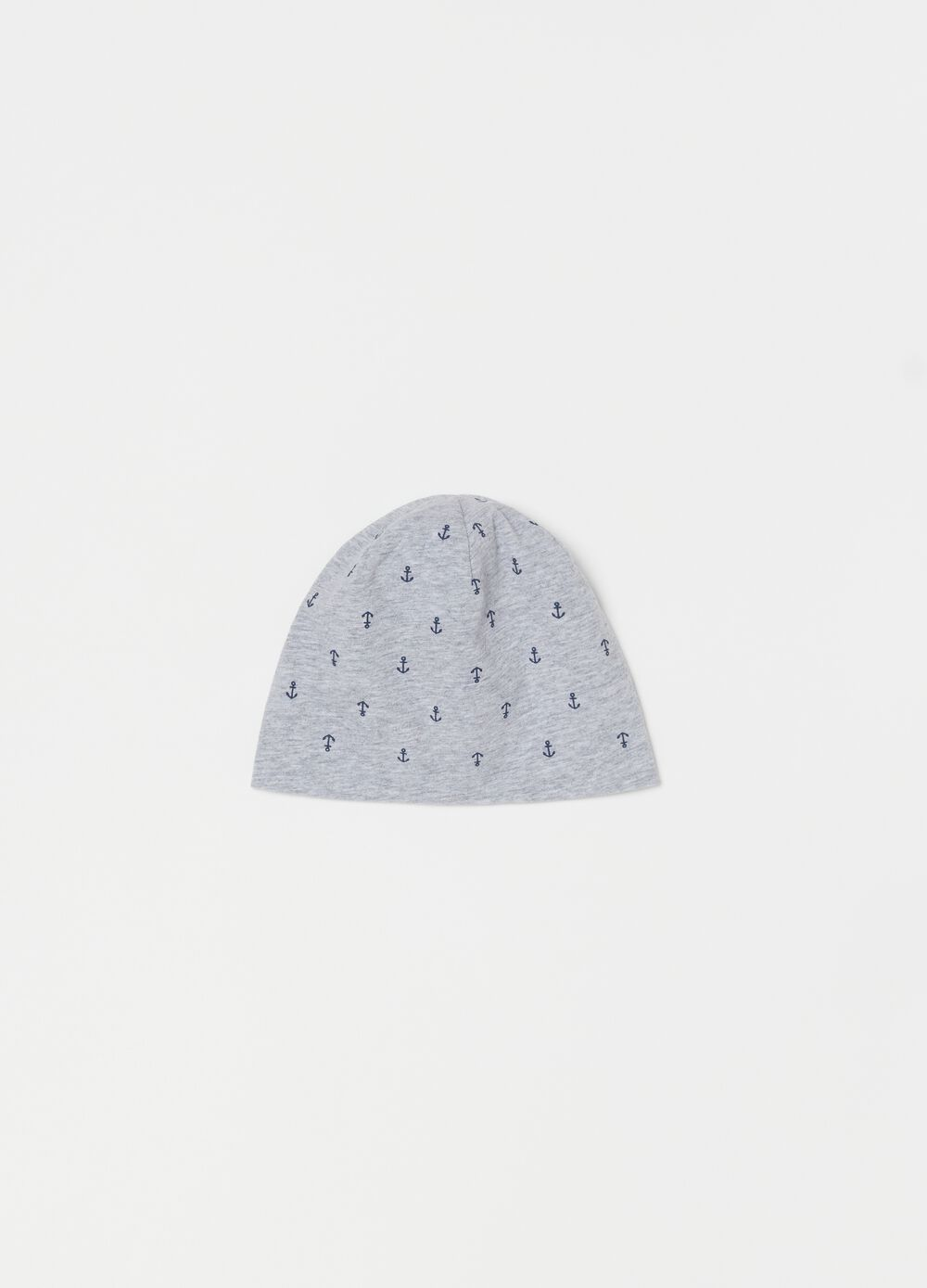 Jersey hat with anchor pattern