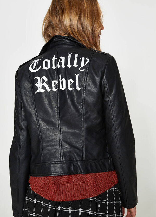 Leather look jacket with print