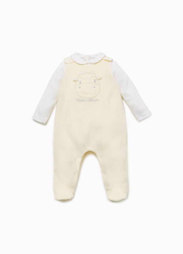 T-shirt and onesie set with cow patch