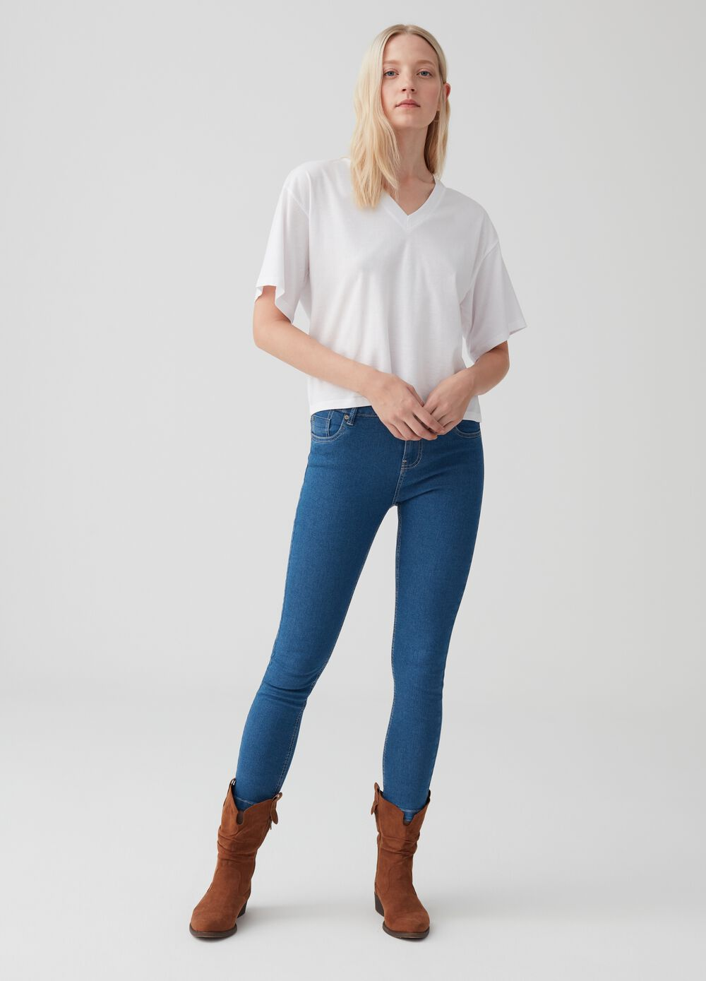 Pantaloni skinny fit crop in denim