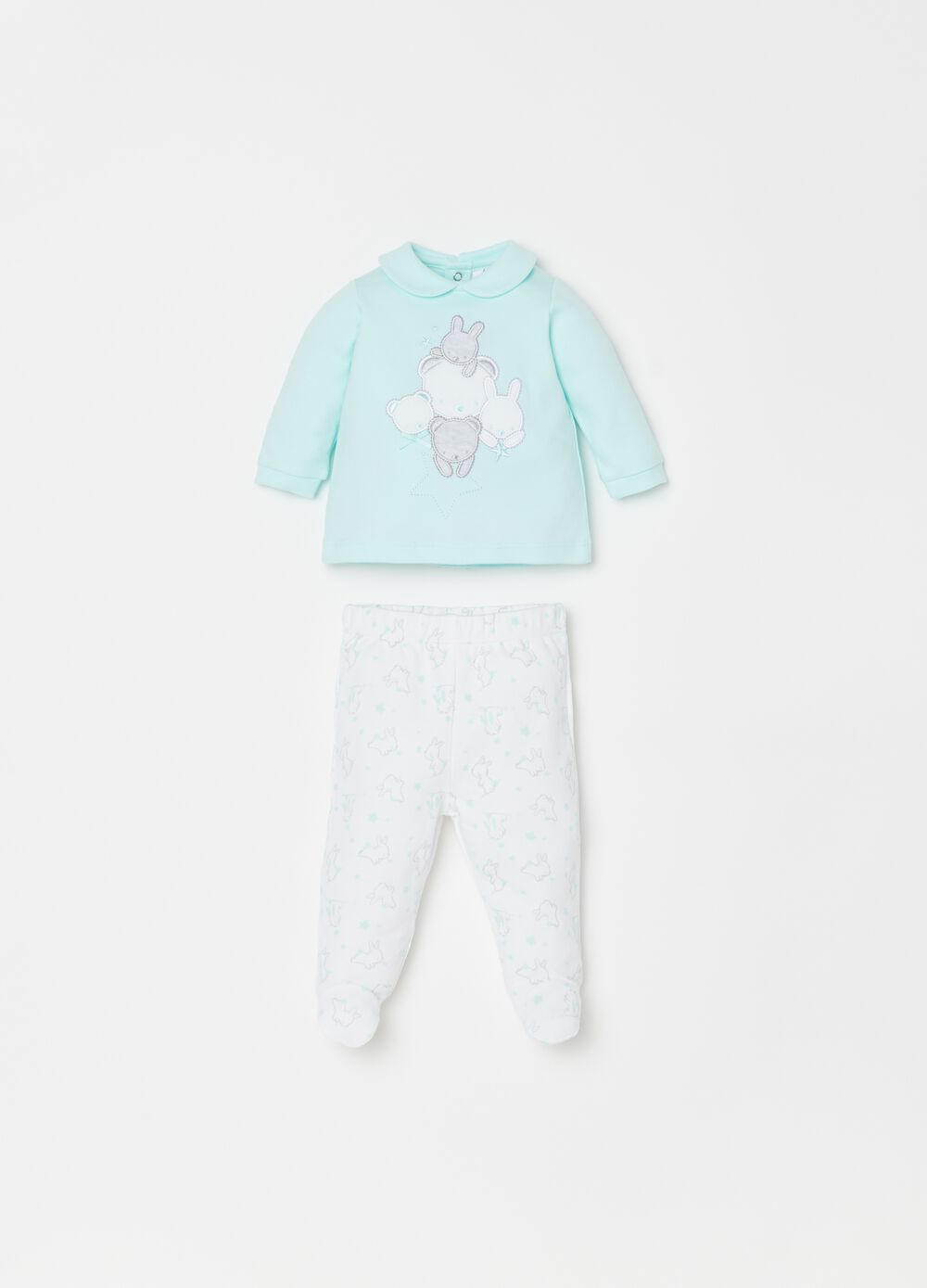 T-shirt and trousers set in 100% cotton