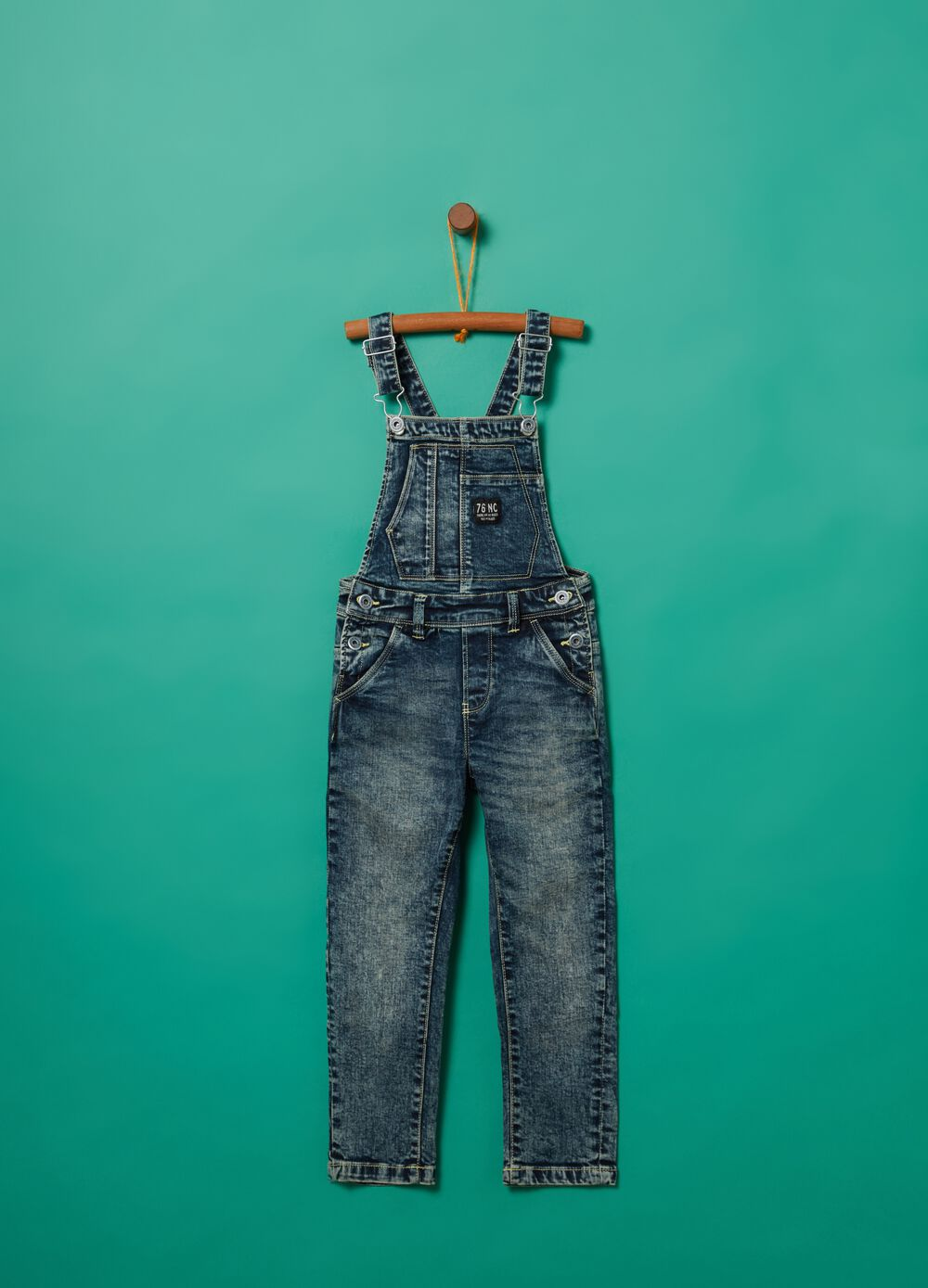 Washed-effect misdyed denim dungarees