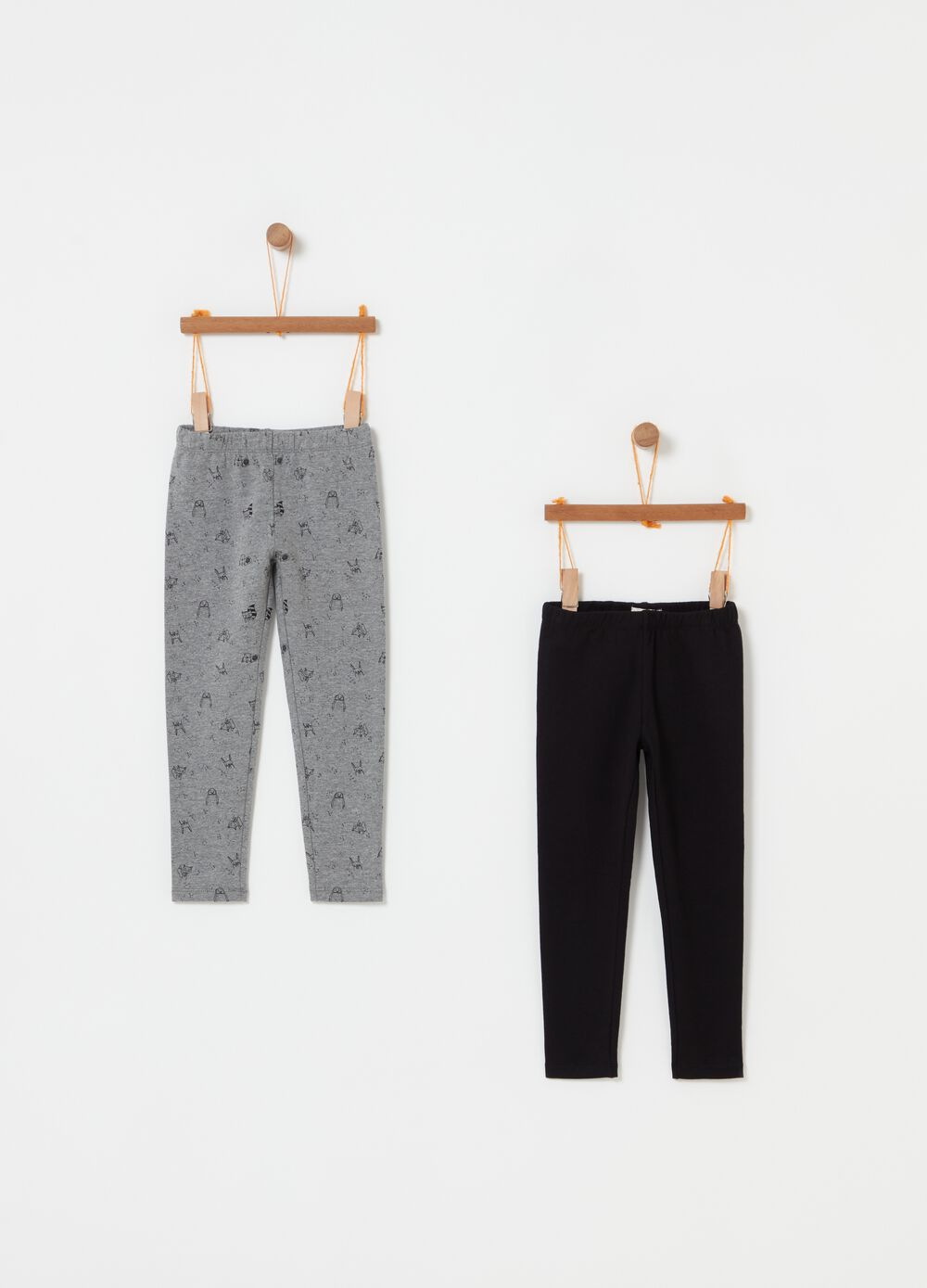 Two-pack stretch leggings with pattern