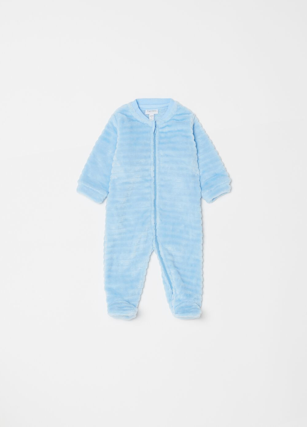 Faux fur onesie with feet and zip