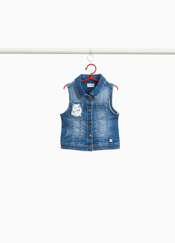 Worn stretch denim gilet with lace