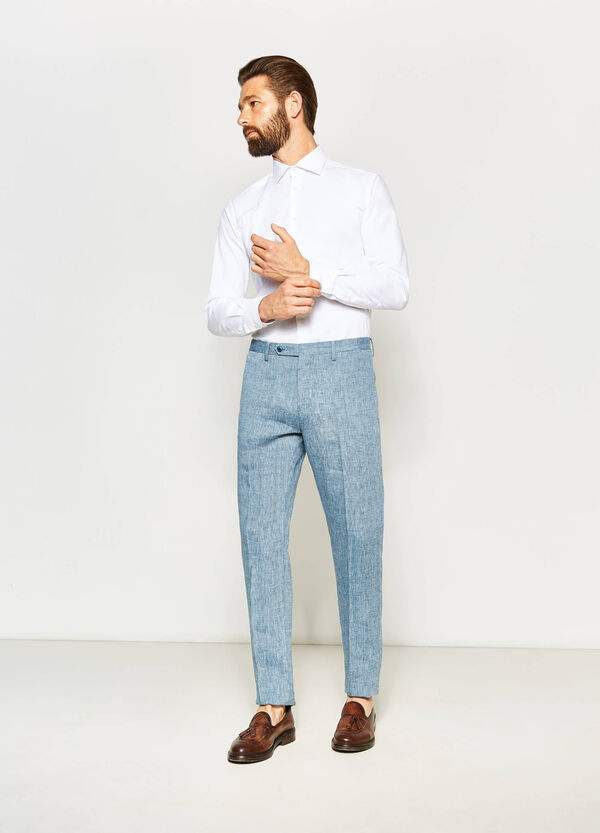 Pantaloni slim fit in puro lino | OVS