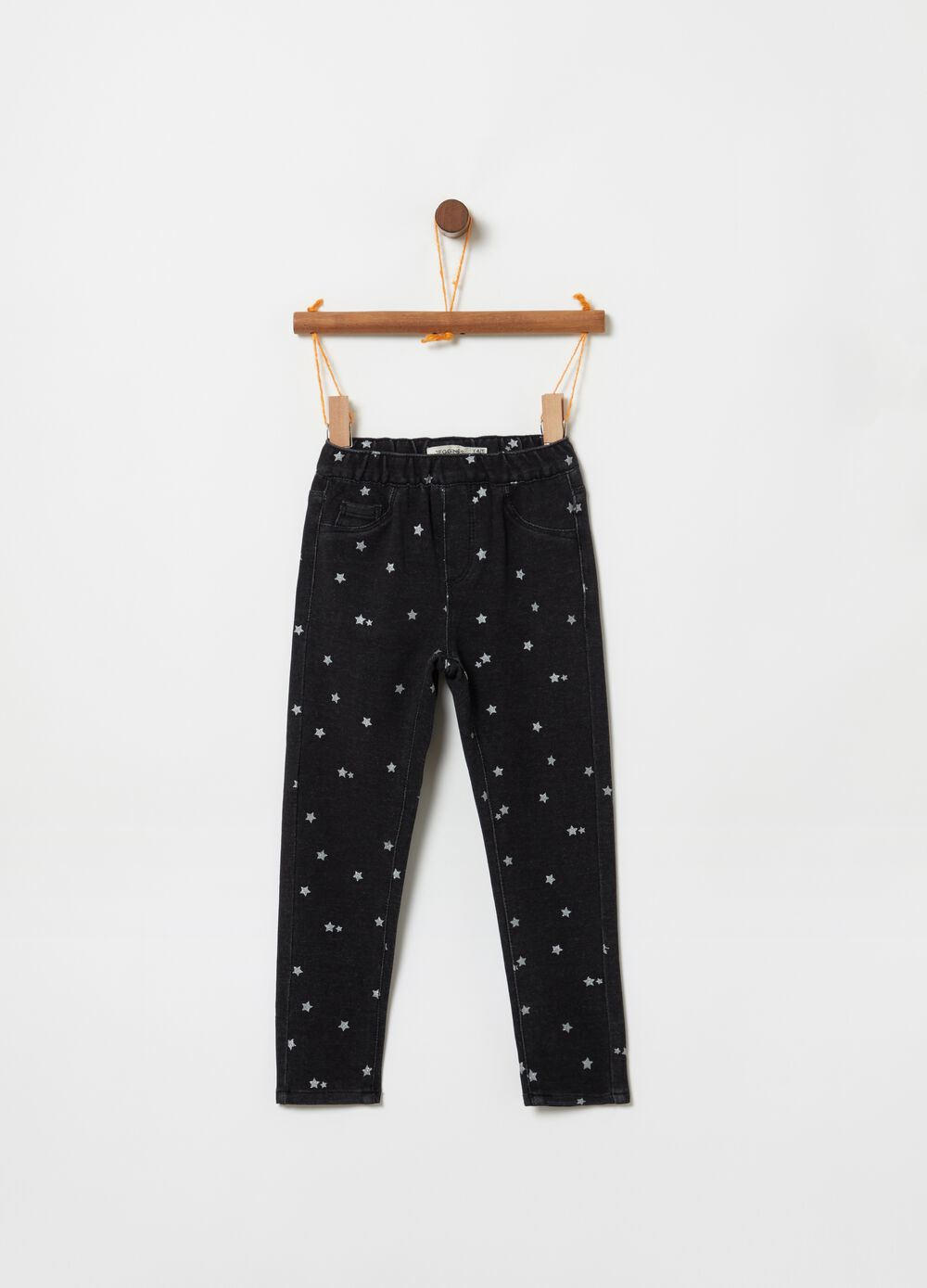 Stretch jeggings with glitter stars pattern
