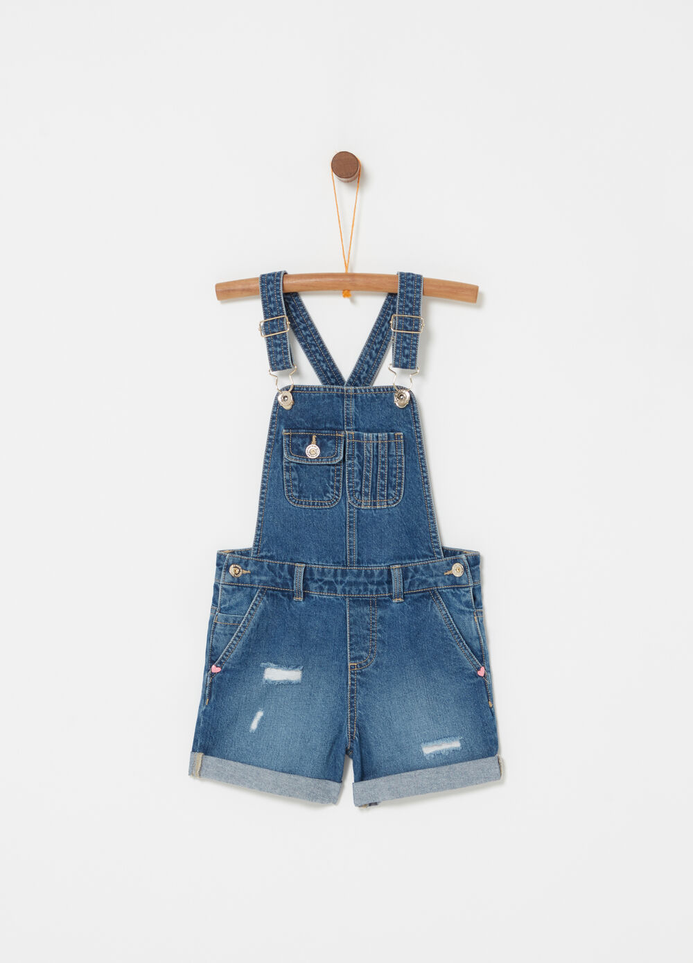 Washed-effect lightweight denim dungarees