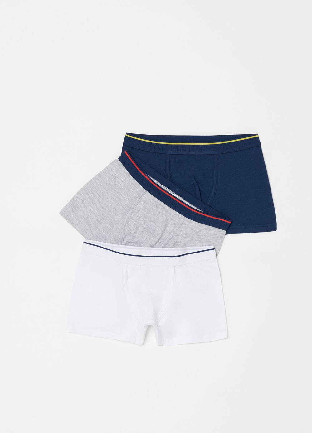 Three-pack organic cotton boxers with striped insert