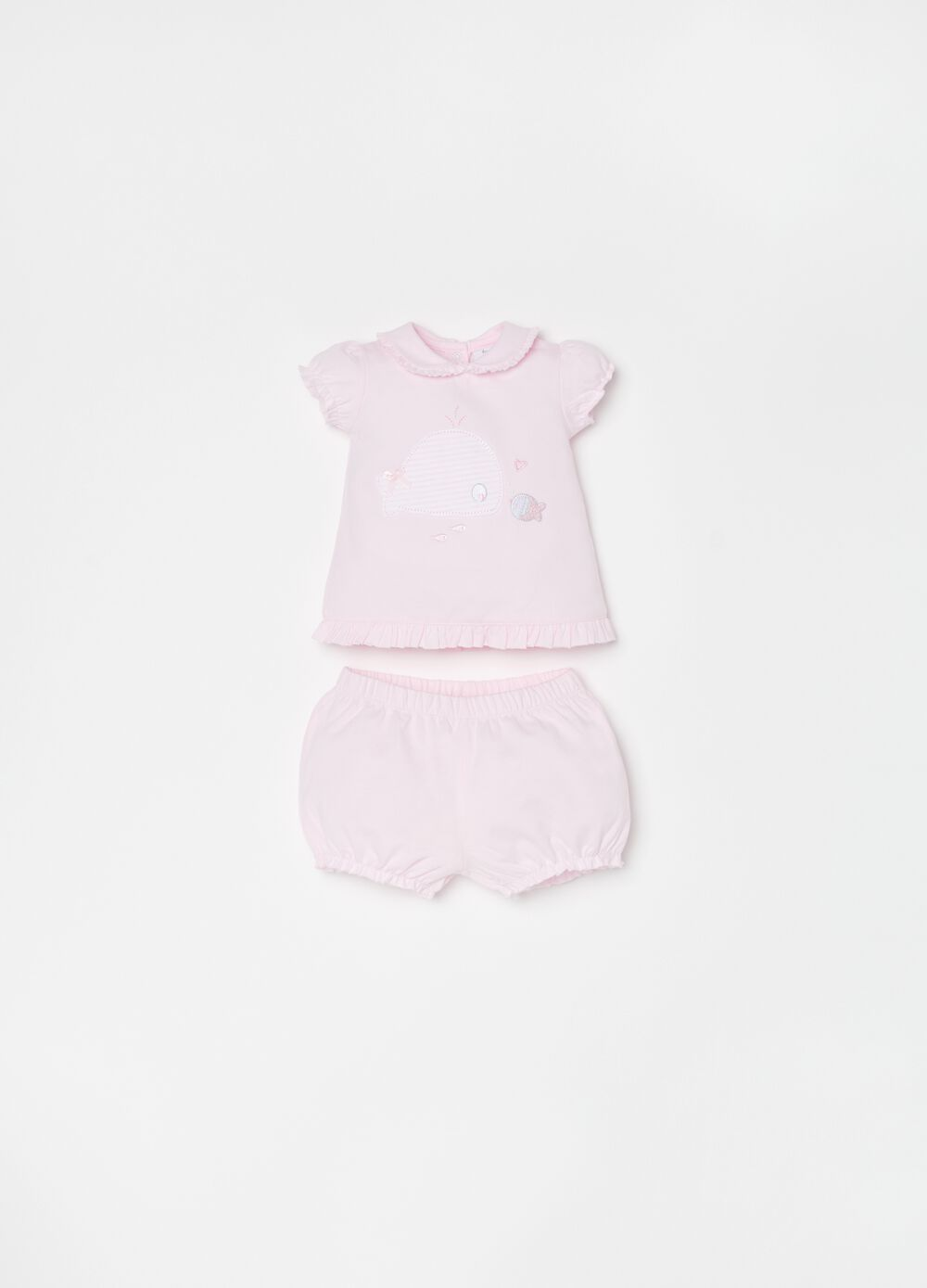 T-shirt and short trousers set in organic cotton