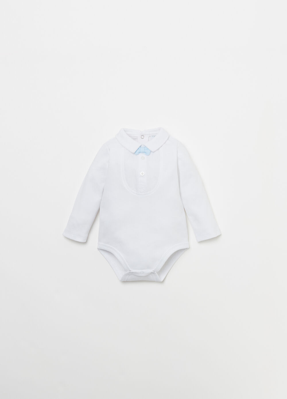 Cotton bodysuit shirt with plastron and bow tie