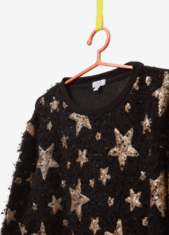 Frayed pullover with star sequins