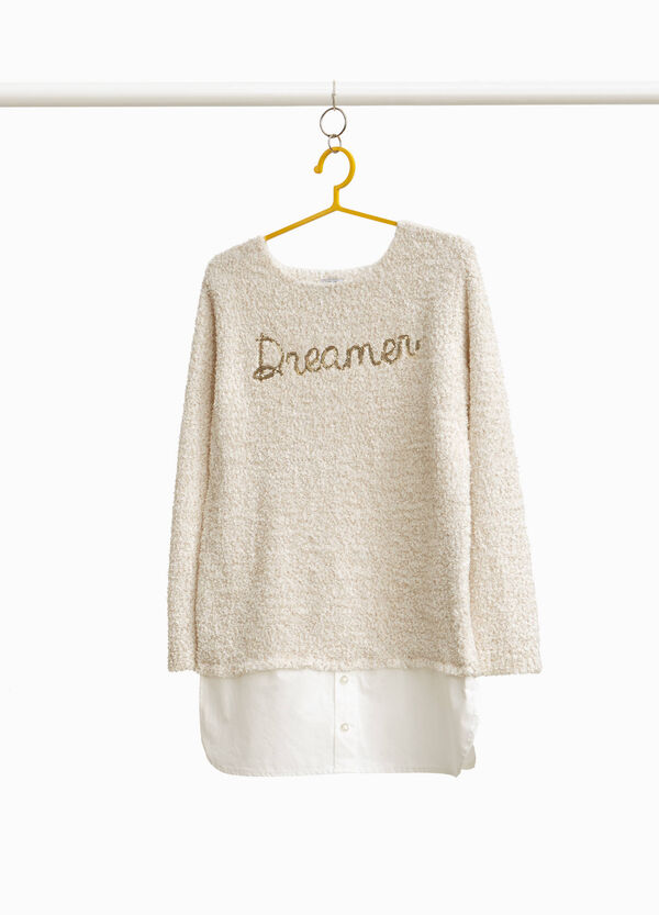 Lurex pullover with sequins and faux layering