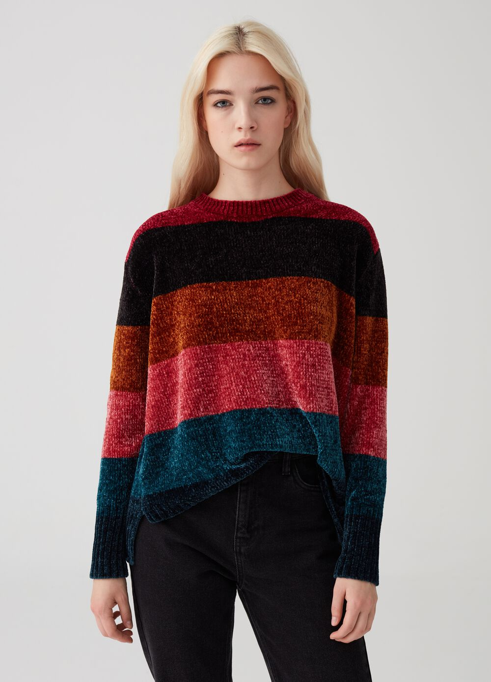 Striped pattern chenille pullover