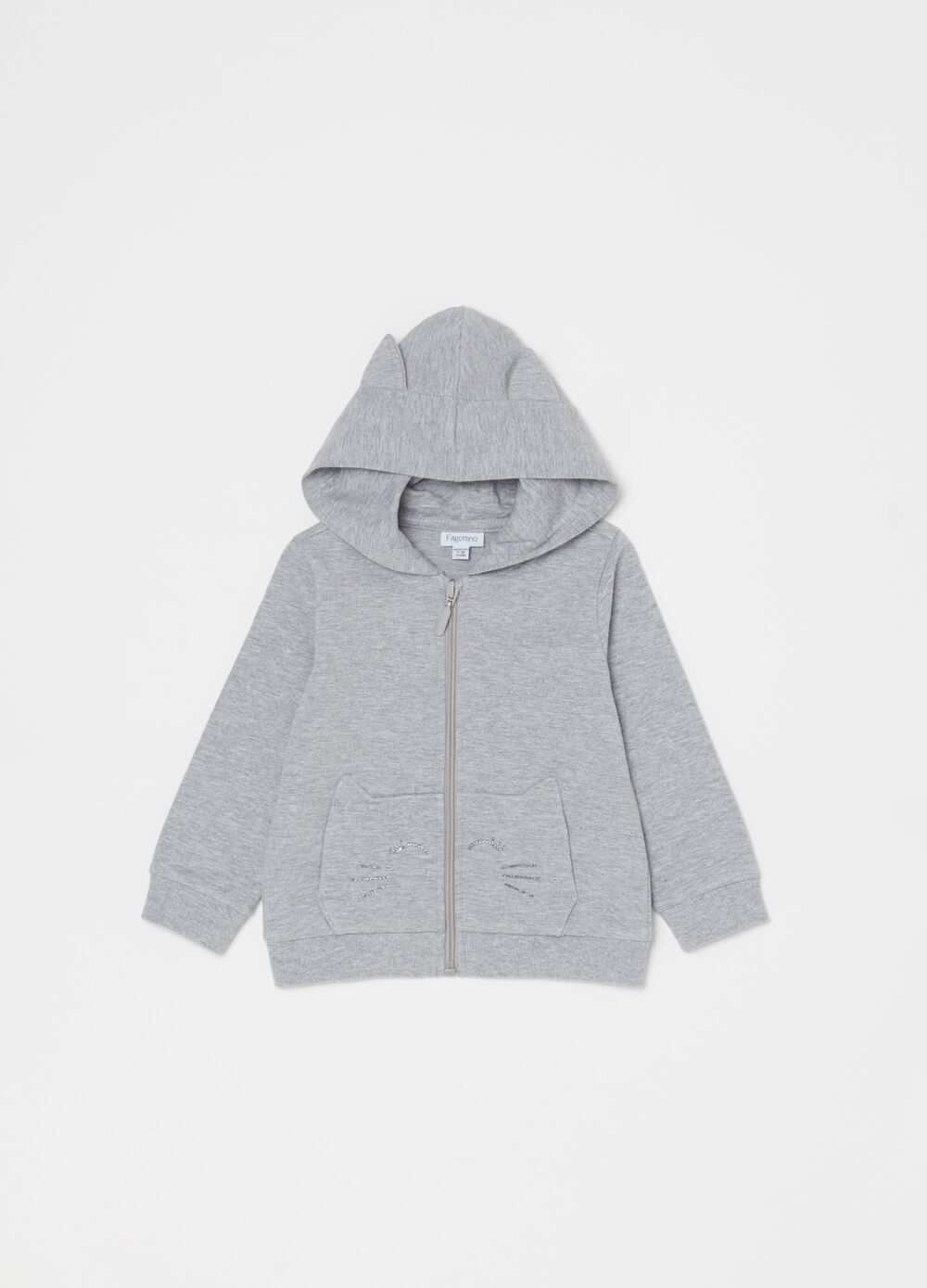 Stretch sweatshirt with hood, glitter and zip