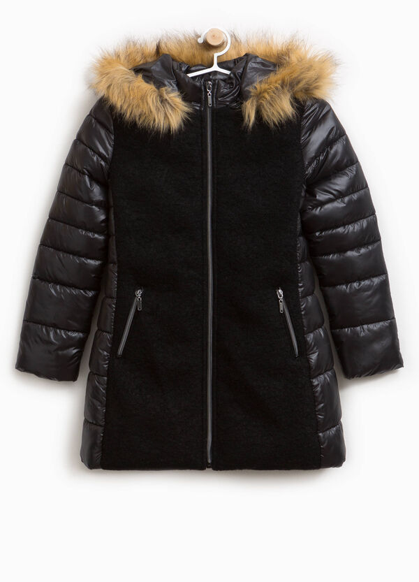 Long down jacket with fur insert