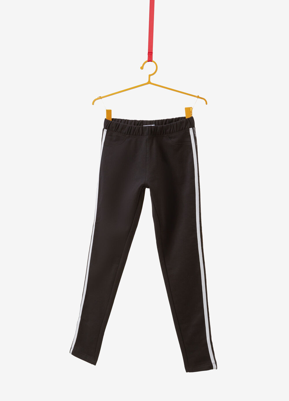 Stretch jeggings with side bands and sequins