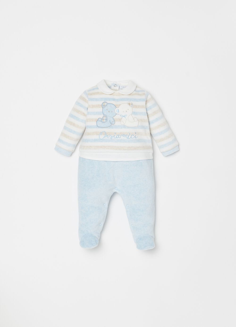 Onesie with feet and bear friends embroidery