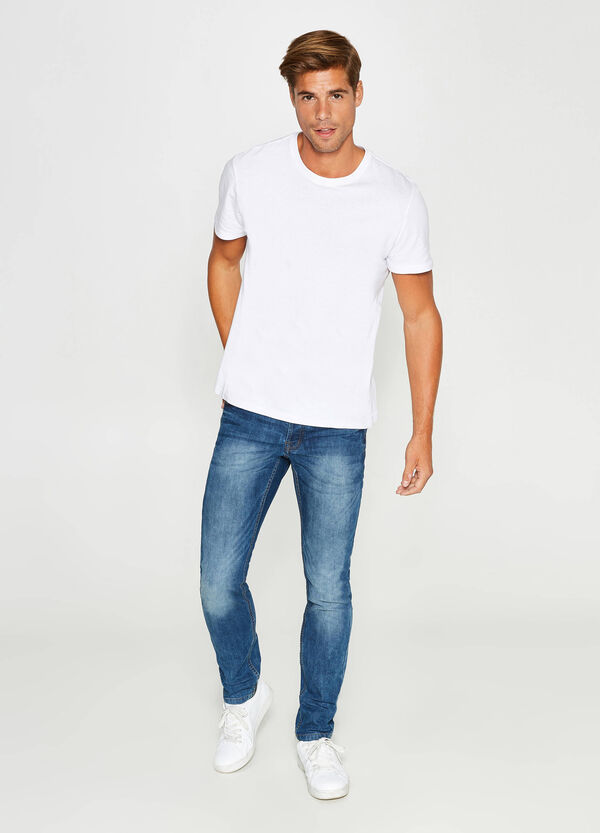 Washed-effect, slim-fit, misdyed stretch jeans