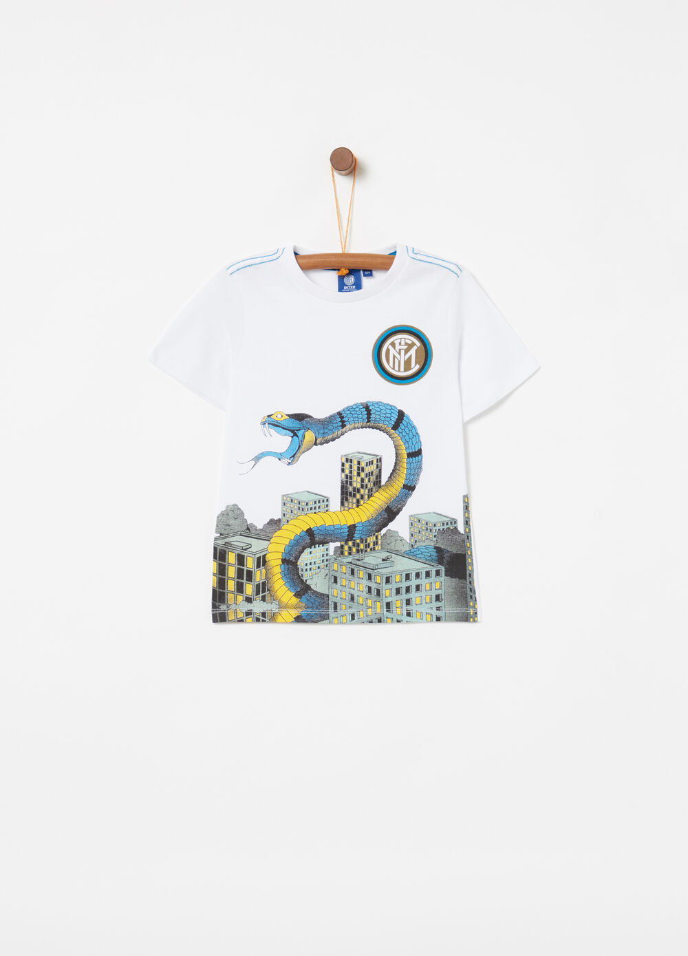 T-shirt with embroidered details and Inter print