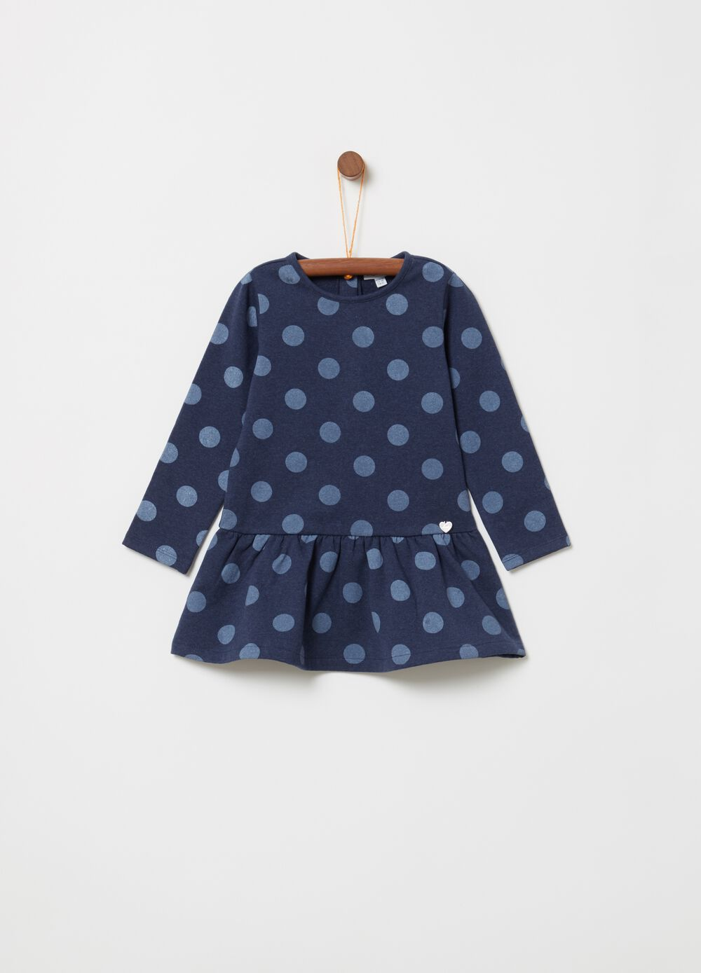 Fleece dress with long polka dot sleeves