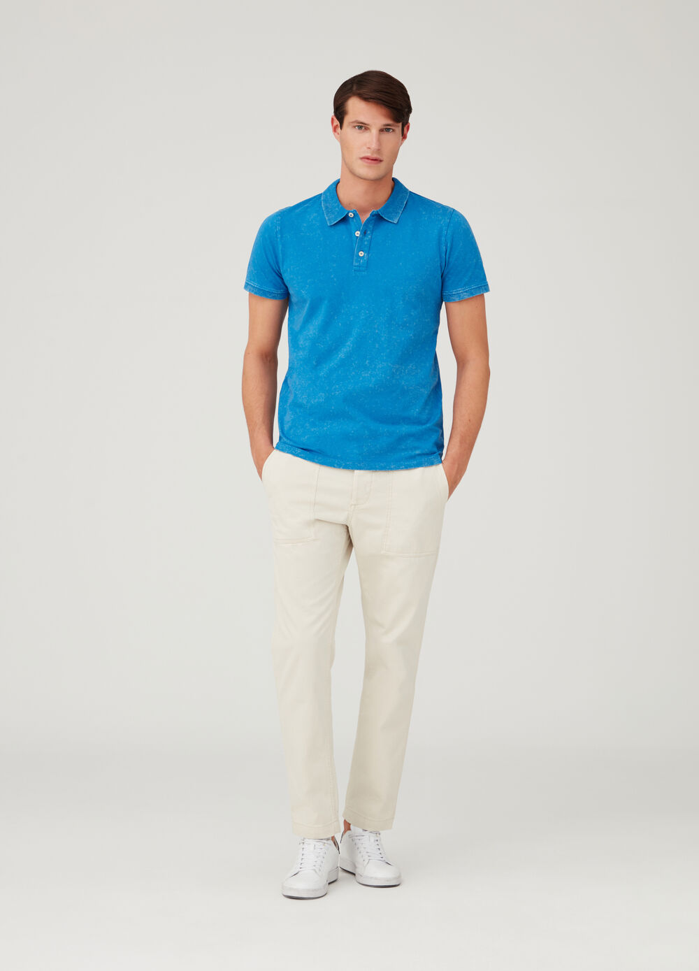 Jersey polo shirt with ribbed details